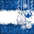 Christmas background in blue and silver with copy space Royalty Free Stock Photo