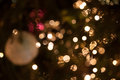 Christmas background blurred lights and decorations on a tree Stock Image