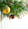 Christmas background - border with Xmas tree Royalty Free Stock Image