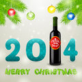 Christmas background bottle of wine and balls illustration Royalty Free Stock Photography