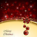 Christmas background with bow red and balls illustration Royalty Free Stock Image
