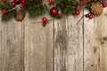 Christmas background of branches on wood Royalty Free Stock Photo