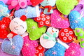 Christmas background. Bright Christmas felt ornaments set. Felt Christmas trees, snowmen, hearts, stars, mittens toys. Top view Royalty Free Stock Photo