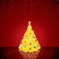 Christmas background with bright christmas tree vector illustration Stock Photo
