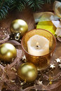 Christmas background with candle and decorations baubles pine branches Royalty Free Stock Photos