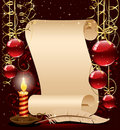 Christmas background with candle, paper and feathe Stock Photography
