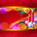 Christmas background with candles, balls and lights Royalty Free Stock Photo