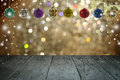 Christmas background and christmas ball with empty wooden deck Royalty Free Stock Photo