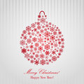 Christmas background with christmas ball red consisting of snowflakes Royalty Free Stock Image