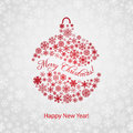 Christmas background with christmas ball red consisting of snowflakes the inscription Royalty Free Stock Images