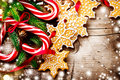 Christmas background with christmas cookies and candy canes Royalty Free Stock Photo
