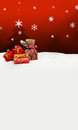 Christmas background - Christmas tree - gifts - red - Snow