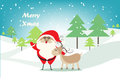 Christmas background with Christmas tree , Santa Claus and deer in snowy landscape.