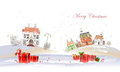 Christmas background with city and presents village Stock Image