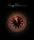 Christmas background with clock eve bell neon effect light Royalty Free Stock Photo