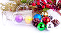 Christmas background with cones color balls and glass for holiday card decoration xmas new year place for text Royalty Free Stock Photography