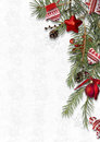 Christmas background with cozy sweet decorations on white backdrop, postcard Royalty Free Stock Photo