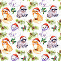 Christmas background - cute animals in red santa`s hats, pine branches. Repeating pattern. Watercolor