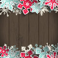 Christmas background with dark wood and snowflakes Royalty Free Stock Photo