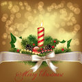 Christmas background decorate with candle and ribbon Stock Photography