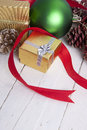 Christmas background decoration with gift box Royalty Free Stock Photos
