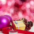 Christmas background decoration with gift box Royalty Free Stock Images