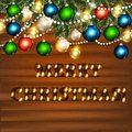 Christmas background for design vector greeting and invitation card with words merry on wooden Royalty Free Stock Photo