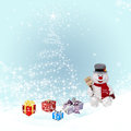 Christmas background elegant with snowflakes snowman fir tree gifts and place for text Stock Image