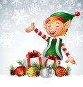 Christmas background with elf, deer and gift boxes