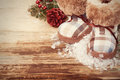 Christmas background with felt boots Royalty Free Stock Photo