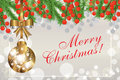 Christmas background with fir branches and red berries and the g