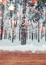 Christmas background with fir trees and blurred background of winter with text Merry Christmas and Happy New Year Royalty Free Stock Photo