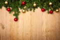Christmas background with firtree and baubles on wood fresh horizontal Royalty Free Stock Photo