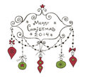 Christmas background with frame baubles and garlands Stock Image