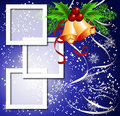 Christmas background with frame and bells Royalty Free Stock Photo