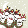 Christmas background with funny deers Santa Claus. Royalty Free Stock Image