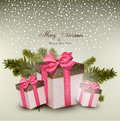 Christmas background with gift boxes fir twigs and vector illustration Stock Images
