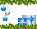 Christmas background with gifts and decorations and spruce branches Royalty Free Stock Image
