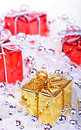 Christmas background with gifts red Stock Image