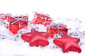 Christmas background with gifts red Stock Images