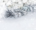 Christmas background with gifts on snow Royalty Free Stock Photos