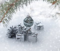 Christmas background with gifts on snow Stock Photography