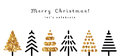 Set of gold christmas tree icons in modern style