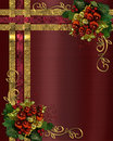 Christmas background gold ribbons Stock Images