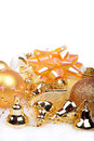 Christmas background with golden balls and bells Royalty Free Stock Photo
