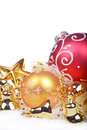 Christmas background with golden balls and bells Stock Image