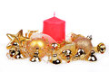 Christmas background with golden balls and bells Royalty Free Stock Photography