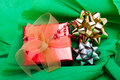 Christmas background of green crepe paper Royalty Free Stock Photo