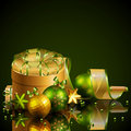 Christmas background with green and golden balls Royalty Free Stock Photos