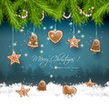 Christmas background greeting card with gingerbreads in snow Royalty Free Stock Photos